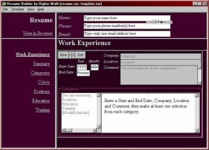 Interactive Resume Builder 2004.6